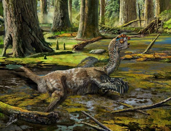Oviraptorosauria gevangen in modder stroom